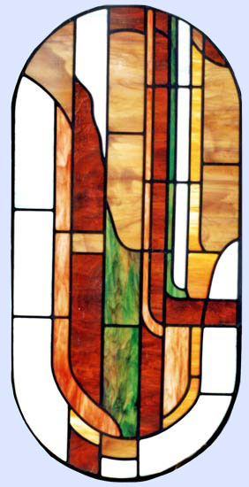 Custom stained and leaded glass abstract window