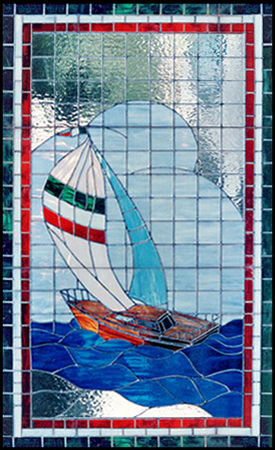 large custom stained and leaded glass sailboat window