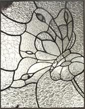 stained glass butterfly on flower custom glass design