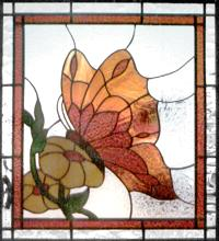 Butterfly and Flower Leaded Stained Glass Window