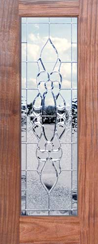 Custom mahogany door with leaded beveled glass custom window