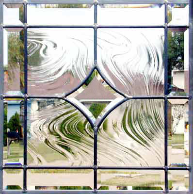 Custom leaded glass beveled glass window