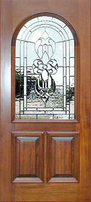 Custom arched mahogany door with custom leaded glass bevel window
