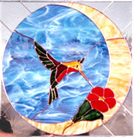 Stained glass hummingbird window