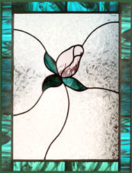 Rosebud stained leaded glass window