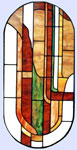 Custom stained and leaded glass oval abstract window