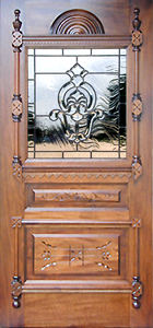 Victorian–style leaded glass beveled glass door