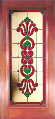 Victorian style stained and leaded glass door