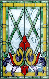 Victorian custom stained and leaded glass window