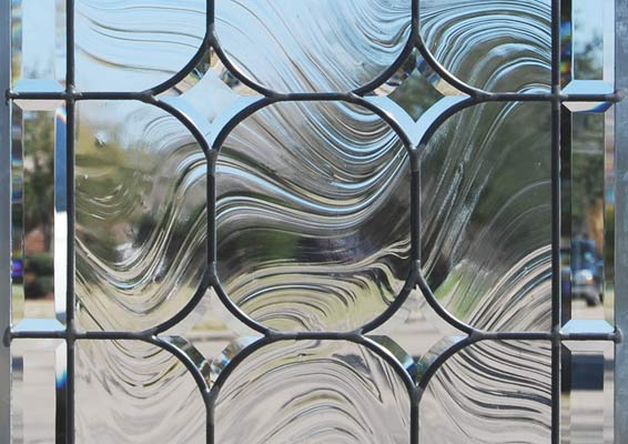 beveled glass stars in custom leaded glass window
