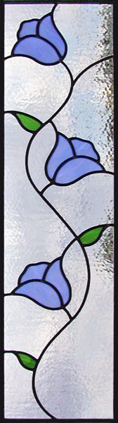 3 blue tulips Leaded Stained Glass window custom glass design