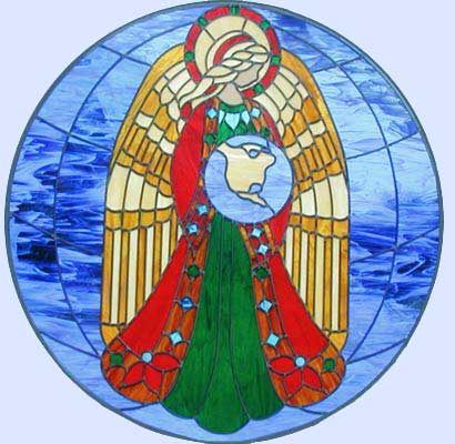 Custom stained and leaded glass angel holding the world in her hands