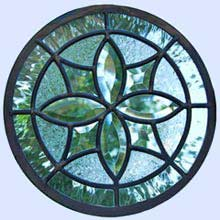 Circular leaded glass beveled window