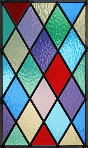 stained and leaded glass Colored Diamonds window