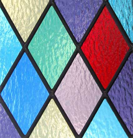 stained and leaded glass Colored Diamonds Window Closeup