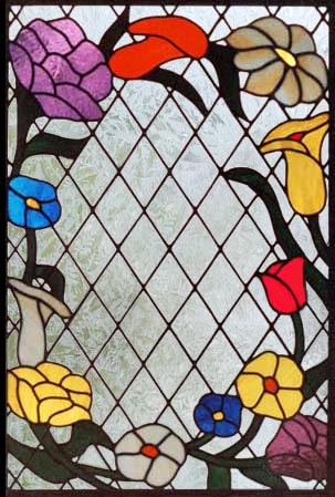 stained and leaded diamond flowers window