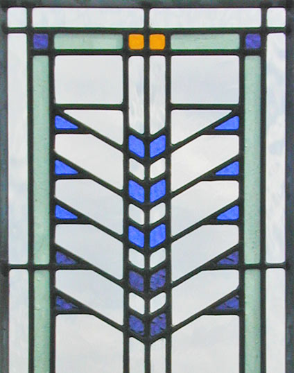 Custom FLW38 stained and leaded glass window inspired by Frank Lloyd Wright