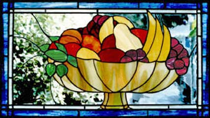 Custom stained and leaded glass fruit bowl window