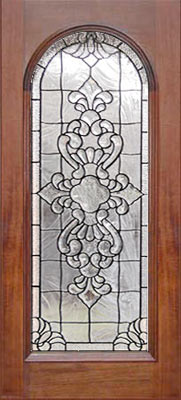 leaded glass beveled inf arched door