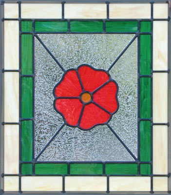 Custom stained and leaded glass red flower window