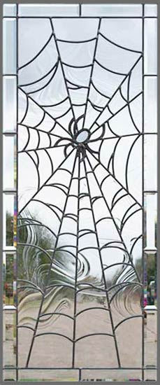 Leaded Stained Glass spider web window