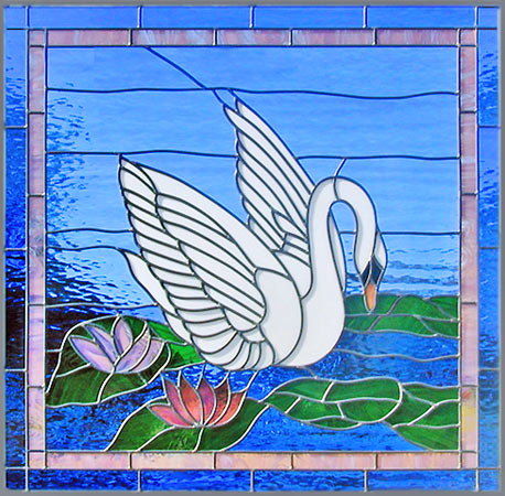 Custom stained and leaded glass swan window