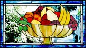 stained and leaded glass fruit bowl custom window