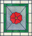 Custom red flower stained and leaded glass window