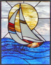 sailboat stained and leaded glass custom window
