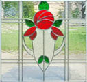 Custom stained and leaded glass Victorian style rose window