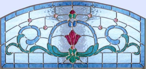 Custom stained and leaded glass Victorian style blue arch transom