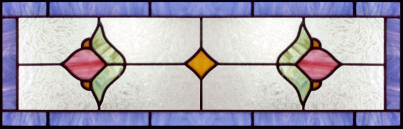 Custom stained and leaded glass Victorian era transom vict13t window