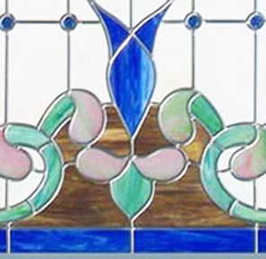 Victorian style stained and leaded glass window closeup