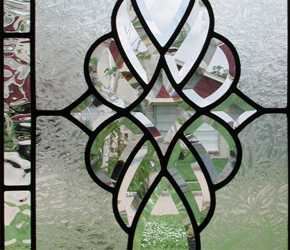 HG340T custom leaded glass transom window