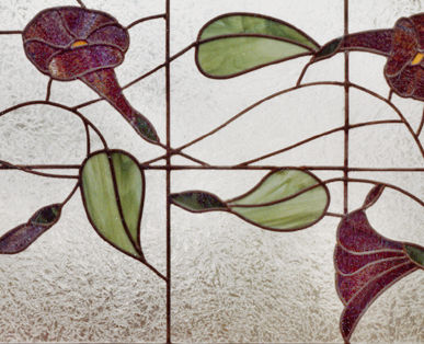 Custom morning glories stained and leaded glass window