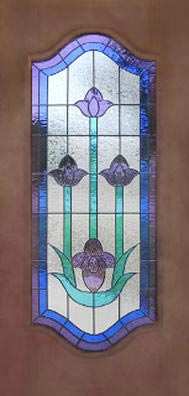 door with tulip stained glass window