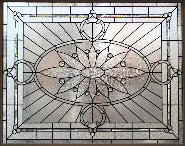 large leaded glass privacy window custom