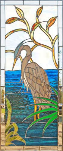 Custom great blue heron stained and leaded glass window