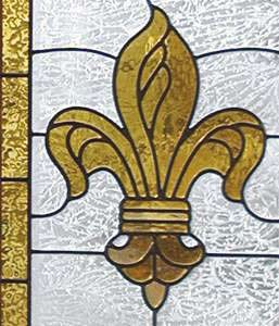 Fleur de Lis stained and leaded glass window