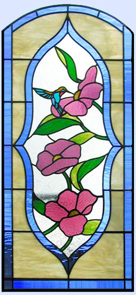 hummingbird, flowers stained glass window