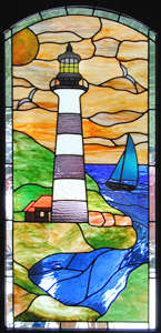 lighthouse stained and leaded glass window