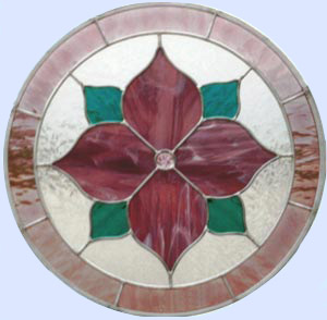 stained and leaded glass circle window