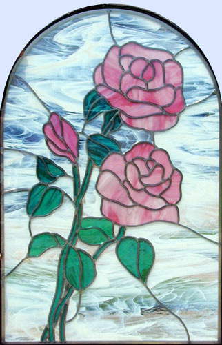 Custom stained and leaded glass pink roses window