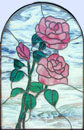 Custom pink roses stained and leaded glass windows