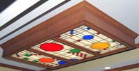 Custom stained and leaded glass Frank Lloyd Wright inspired skylight window