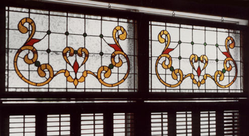 stained and leaded glass Victorian window
