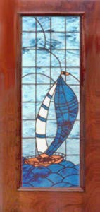 stained and leaded glass sailboat door window