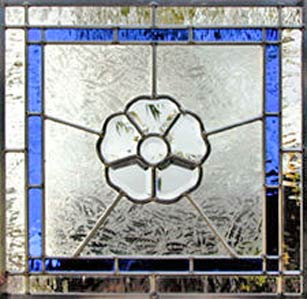 Custom stained and leaded glass C11 bevel window