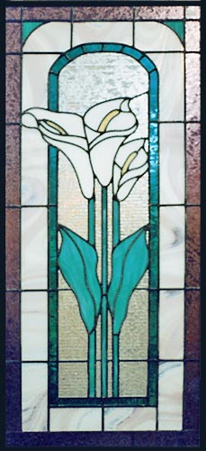 stained and leaded glass calla lily window