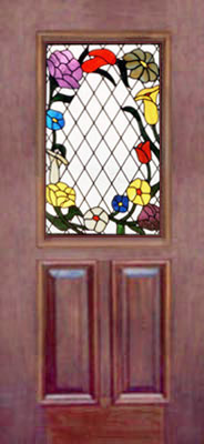 stained and leaded glass flower door